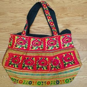 Hand Crafted | Floral embroidered tote purse bag